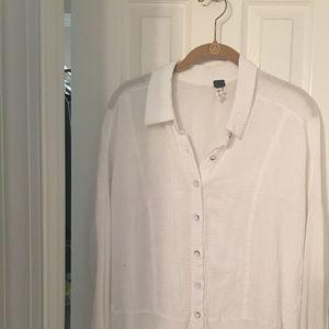 Free People gauzy button down shirt lg nwot